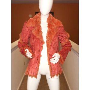 Suede/Faux Fur Orange reversible jacket